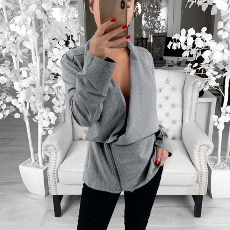 Female Loose Coat Autumn Women Slim Cool Jackets Asymmetric Zippers Slim Long Sleeve Sweatshirt Irregular Fashion Outwear