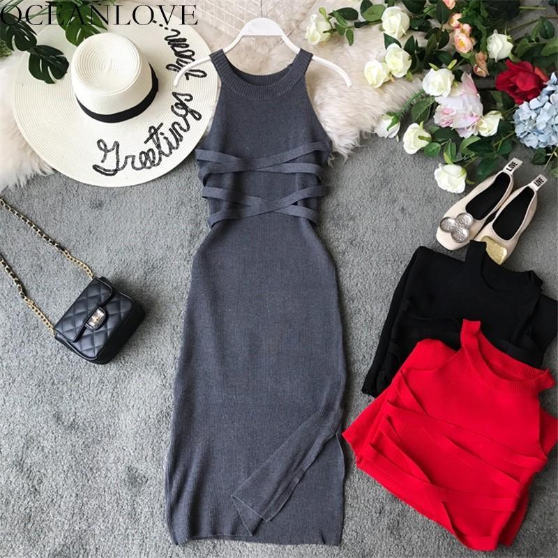Oceanlove vestidos Katı Örme Stretch BODYCON Elbise 2020 Halter Kolsuz Yaz Elbise Kore Yüksek Bel Robe Femme 11839