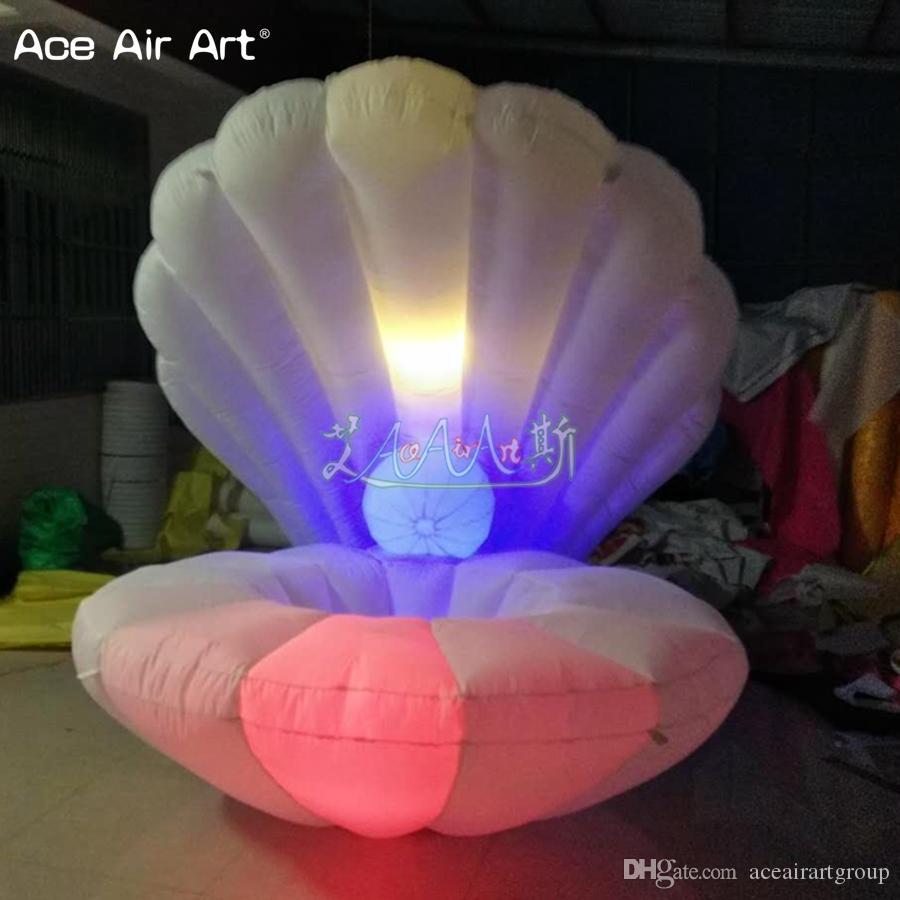 Decoração do casamento diâmetro 2m aceitar personalizado clamshell inflável gigante, concha para venda