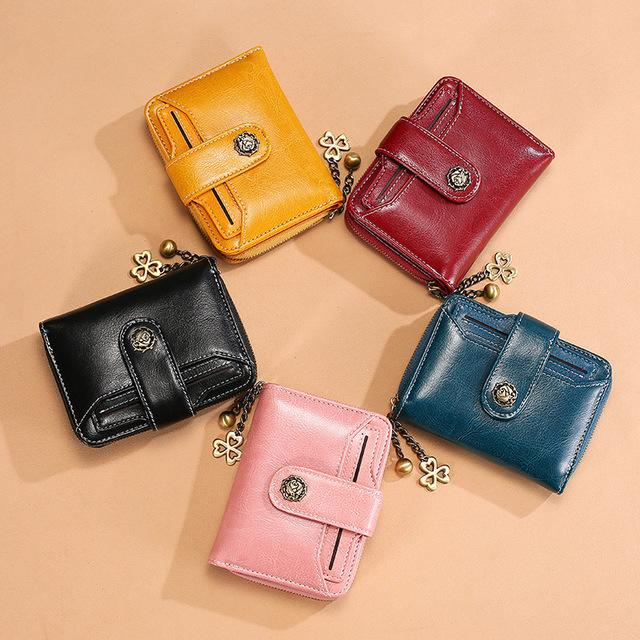 Multifuncional Ladies Wallet New couro genuíno titular bonito Coin Purse Cartão Curto pequeno Carteiras bolsa para as Mulheres Drop Shipping