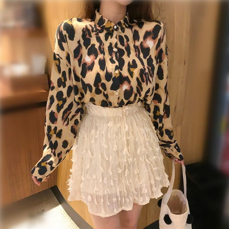 Весна женщины леопардовый принт рубашка отложным воротником с длинным рукавом топ свободные блузки плюс размер Camisa Feminina одежда