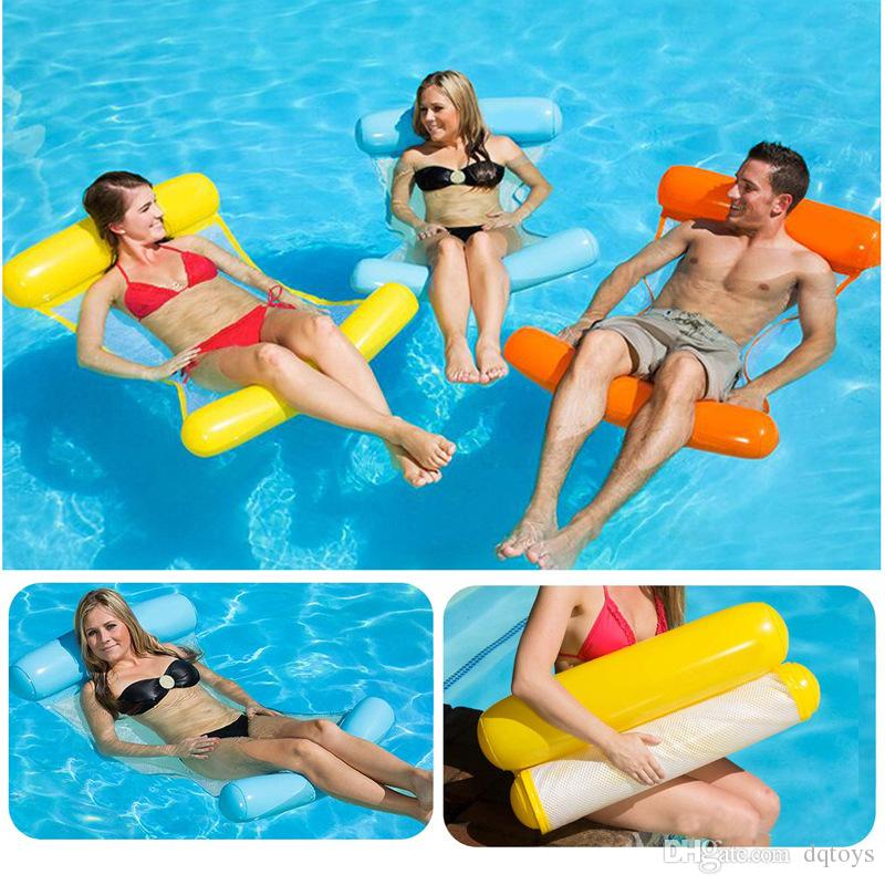 Foldable Backrest Floating Drainage on Inflatable Hammock Water Lounge Chair Water Floating Chair Toy Free Shipping