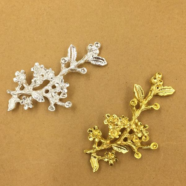 20 PCS 47mm Fashion Metal Alloy Gold Silver Tone Branch Connectors Charm For Jewelry Making