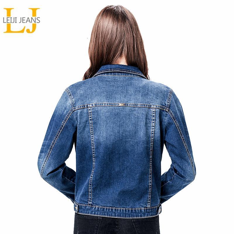 2019 LEIJIJEANS Femmes Taille Plus 6XL long manteau veste jeans BÁSICAL Bleach manches complètes Simple sein Slim Femmes Veste en jean V191022