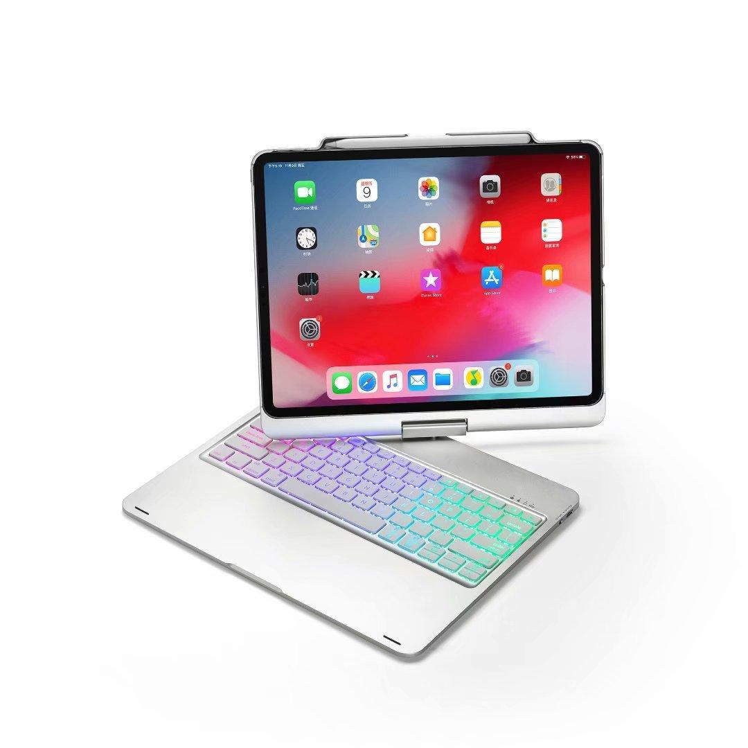 360 Rotasyon Stylus Kalem Yuvası Arka Işık Bluetooth Klavye Kapak For iPad Pro 12.9inch 2020 2018 Yeni Kablosuz Anahtar Paneli Ayaklı Akıllı Kılıf