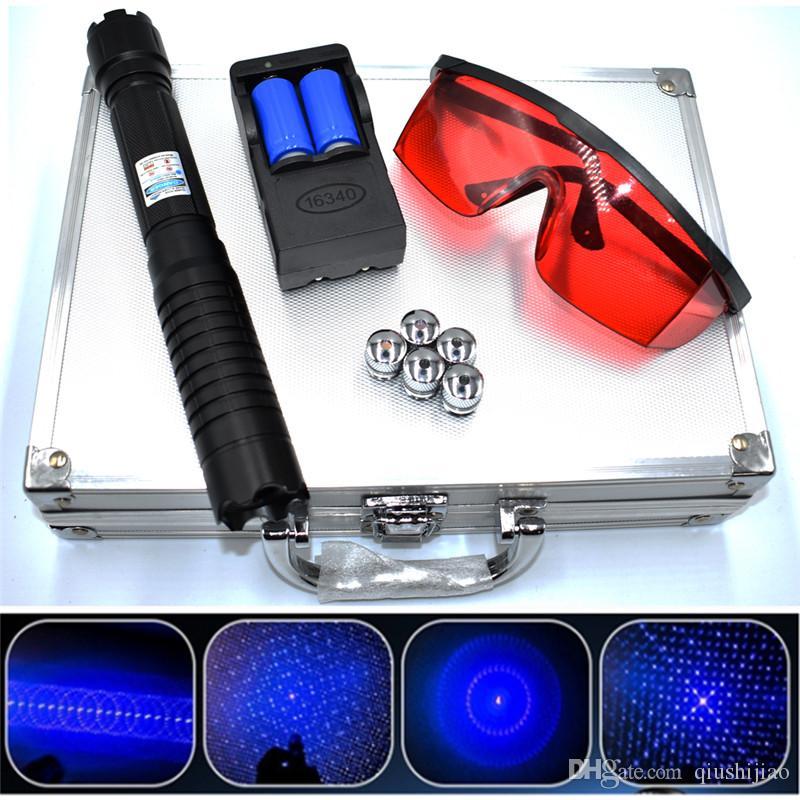 De alta potencia militar más poderosa linterna láser azul de 450 nm 10000m azul lápiz puntero láser foco ajustable Grabación de papel