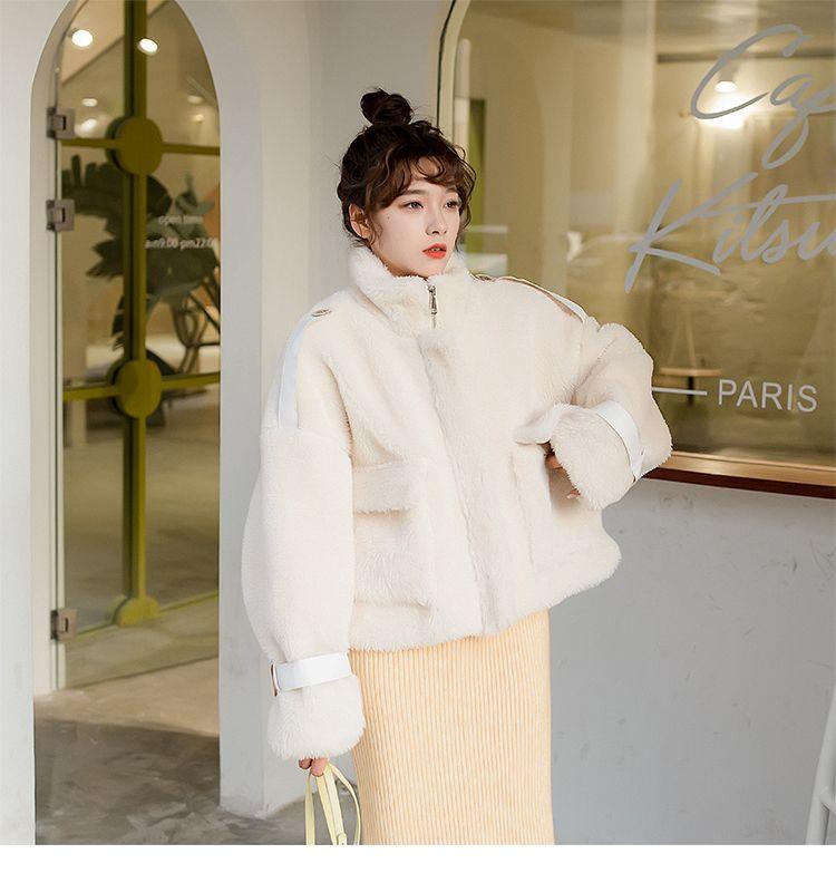 2019 Lamm kurzer Baumwollmantel Baumwolle Student Herbst und Wintermantel weibliche Gezeiten Super Feuer koreanische Version breit