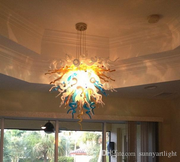 100% mundgeblasenem Borosilikat Murano Glas Multicolor Pendelleuchte Dale Chihuly Kunst Wohnzimmer Mundgeblasenem Glas Kronleuchter