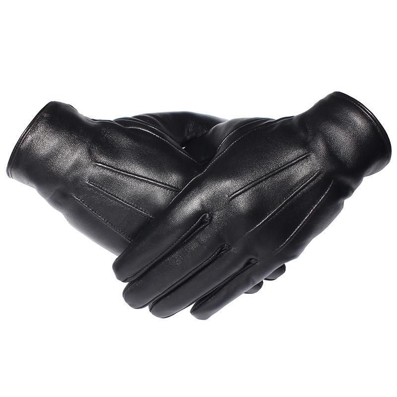 Gours Guanti invernali Uomini guanti di cuoio genuini touch screen reale pelle di pecora nera guanti caldi di guida Mittens nuovo arrivo Gsm050 T190618