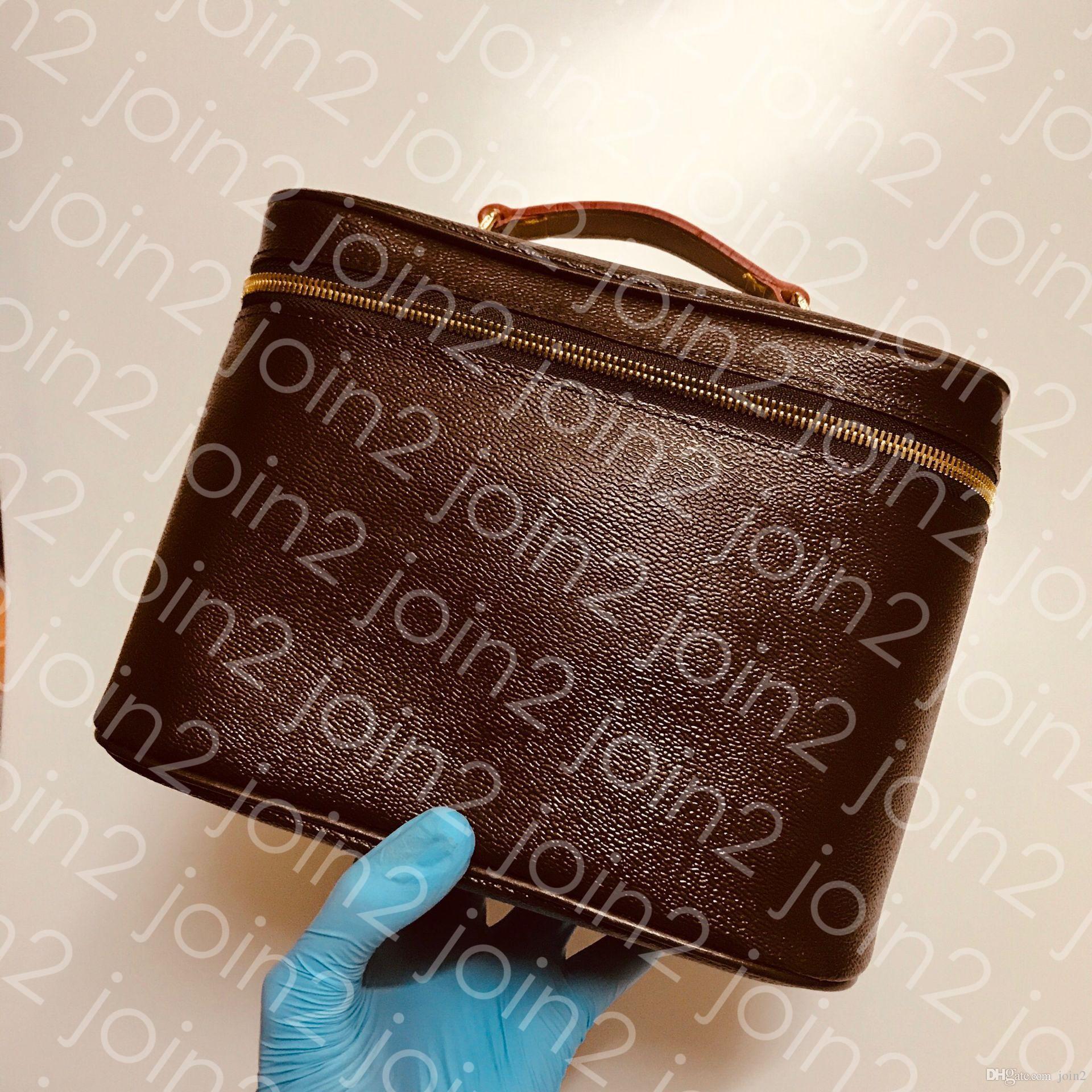 TROUSSE DE TOILETTE NICE BB Estuche de belleza para mujer de calidad superior para mujer Bolsa de artículos de tocador de maquillaje Marrón Impermeable Lona lavable Forro M42265