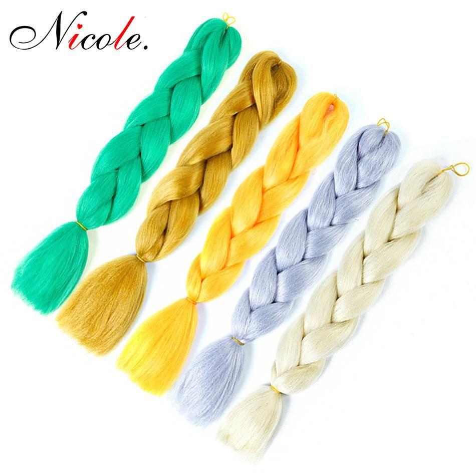 Nicole Hair Synthetic Jumbo Braiding Hair Extensions for Women 100g/Pack Kanekalon Red /Blue/Pink Crochet False Braiding Hair