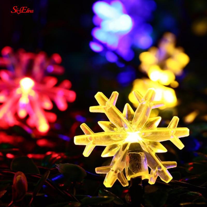 6M Fada Outdoor cortina da corda Luz Iluminação do feriado de 40LED floco de neve Início luzes da decoração de Natal Waterproof 6Z MM251