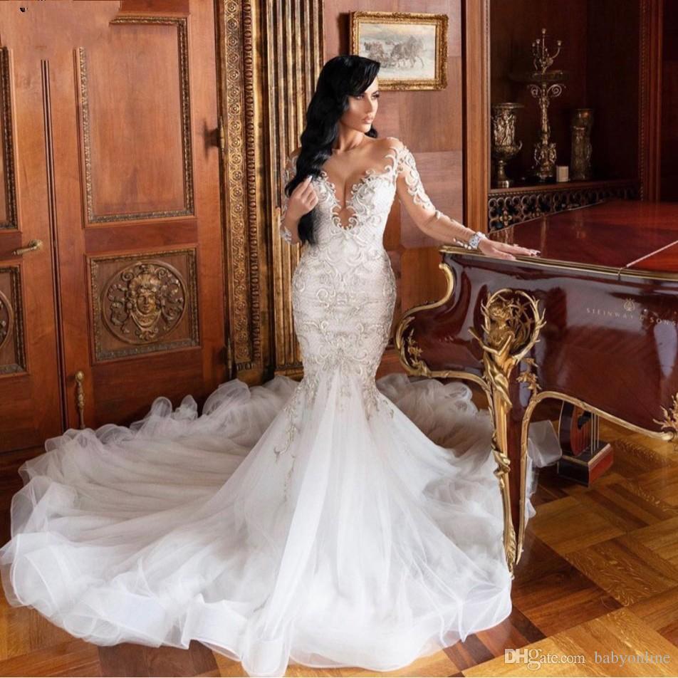 Moderna Illusione sirena Pizzo Abiti da sposa a maniche lunghe vestido de Noiva Appliques del merletto convenzionale sottile Abiti da sposa taglie forti