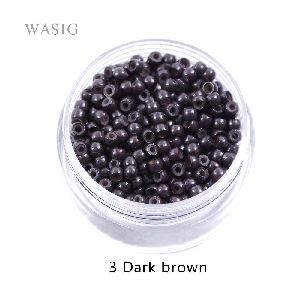 Bagues Tubes de bagues nano silicone 3.0mm pour les extensions de cheveux de pointe nano outils 3 # brun foncé