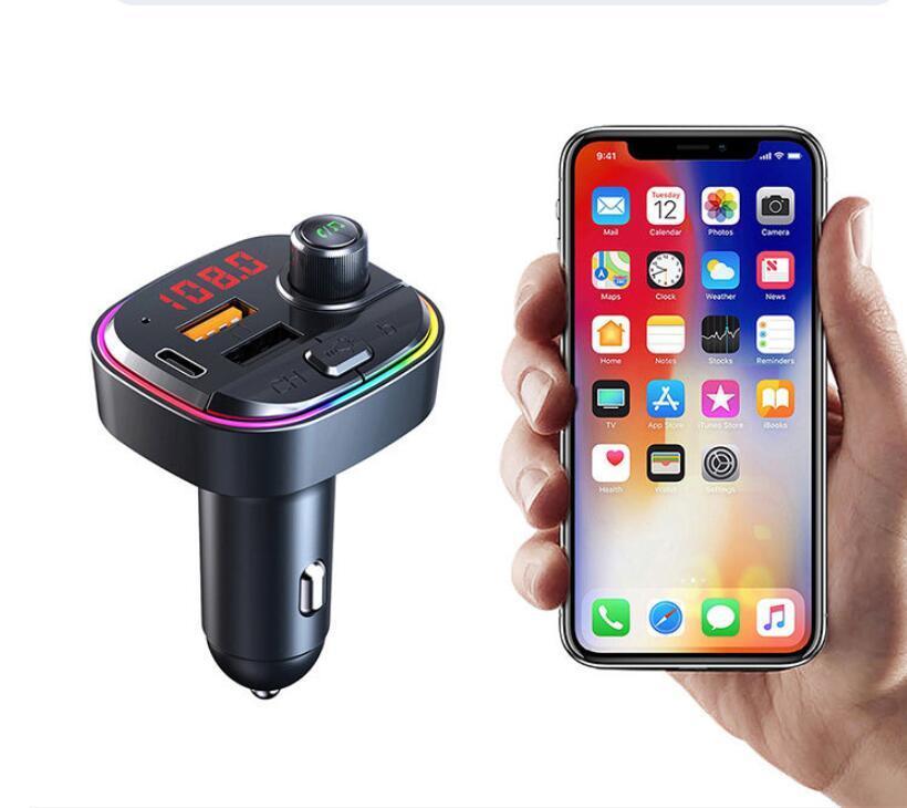 C13 C14 C15 C12 FM 송신기 무선 블루투스 5.0 핸즈프리 자동차 MP3 키트 FM 변조기 듀얼 USB 유형 -C PD 충전기 RGB 빛