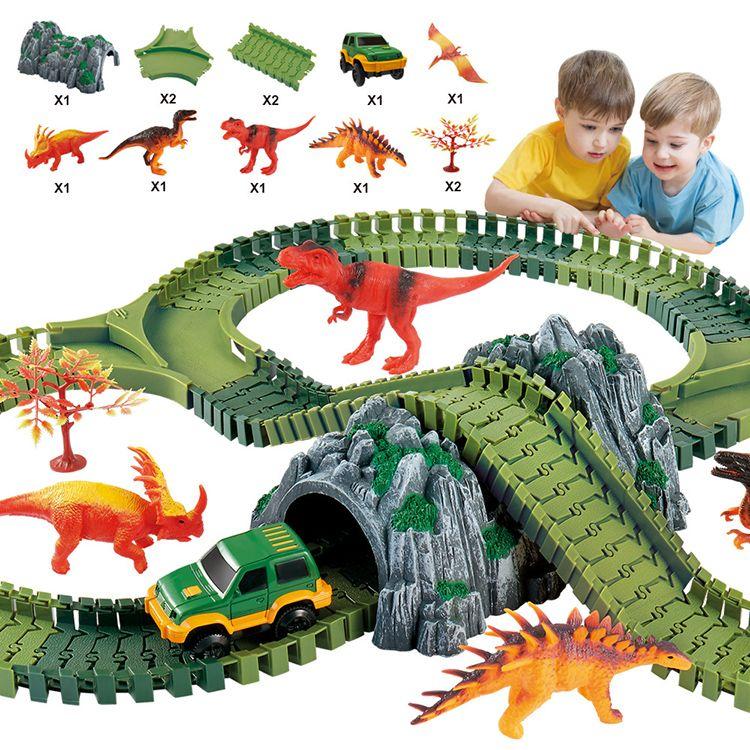 Brinquedos de Playgame dos tijolos dos blocos de apartamentos do modelo da montanha russa do parque do século do dinossauro para crianças