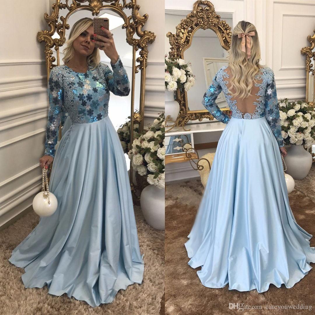 Baby Blue Evening Dresses Long Sleeves Jewel Neck Beads Floor Length Elegant Evening Formal Dresses 2019 Designer Evening Party Wear Formal Evening