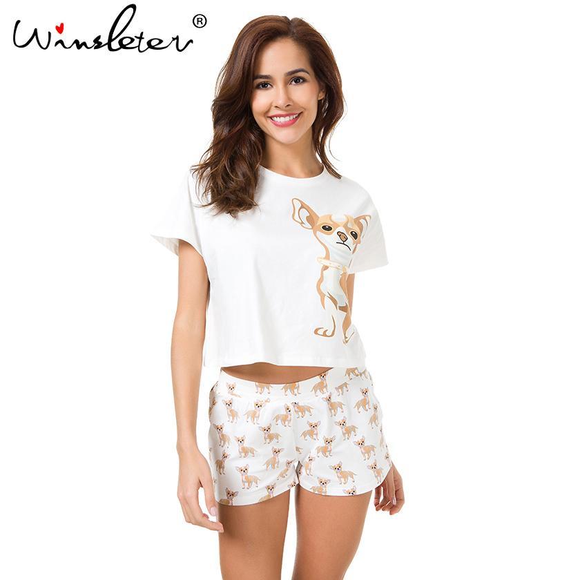 Establece pijama de algodón lindo Chihuahua Imprimir Recortar top + shorts 2 perro parado pijamas tapa floja elástico de la cintura Salón pijamas S61003 Y200425