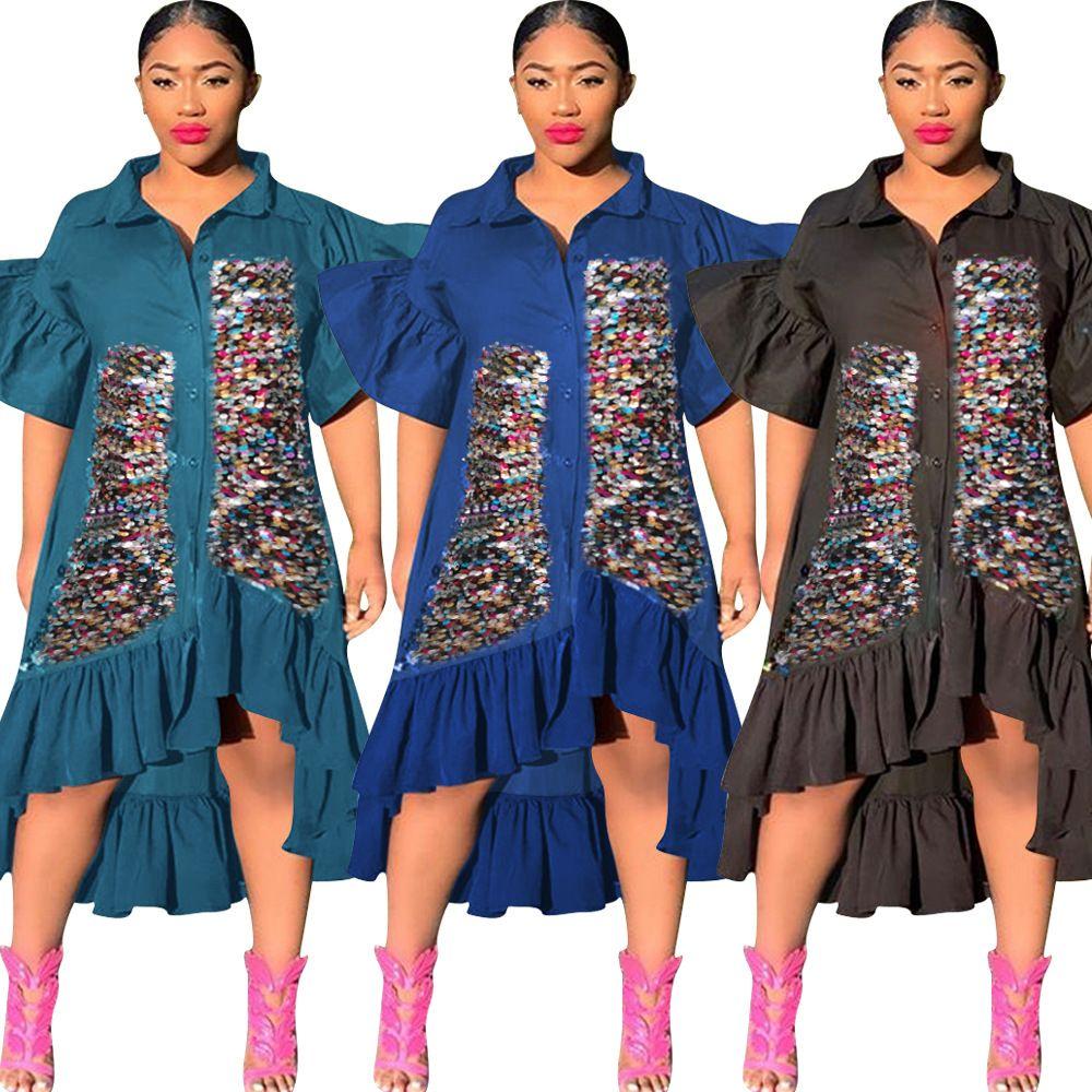 여성 놀라운 파티 이브닝 드레스 최신 스파클 장식 조각 프릴이 푹신한 반팔 짧은 전면 긴 돌아 가기 패션 셔츠 드레스 2020