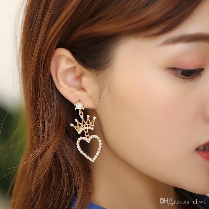 Corona pendientes de perlas de cristal para las mujeres Declaración fiesta de la boda geométrica estrella del corazón pendiente de la perla de las muchachas Pendientes joyería regalo de la manera