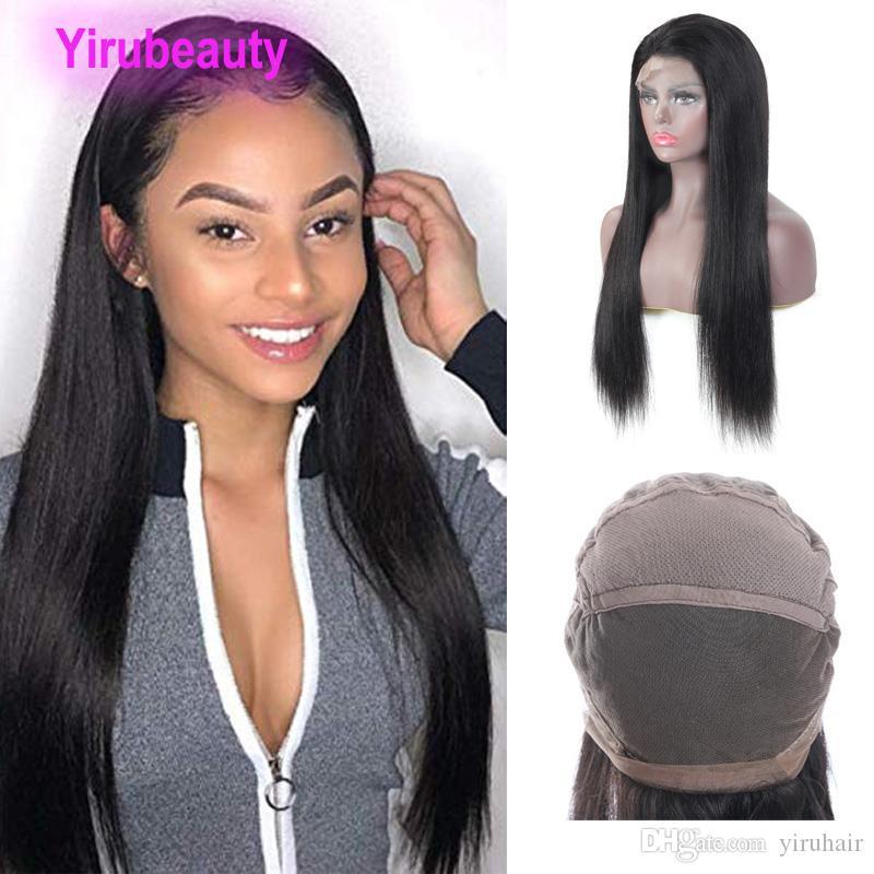 Perulu İnsan Saç Düz Tam Dantel Peruk 180% Yoğunluk Kalın Dantel Peruk 100% İnsan Saç Ürünleri Ayarlanabilir Bant Ucuz 10-26 inç