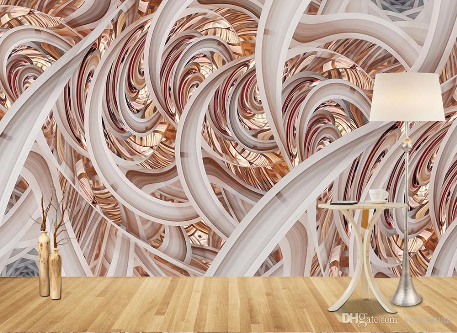 Изготовленный на заказ Европейский современный гостиная спальня 3D обои для стен настенная роспись обои простой абстрактный кривой 3D фон стены