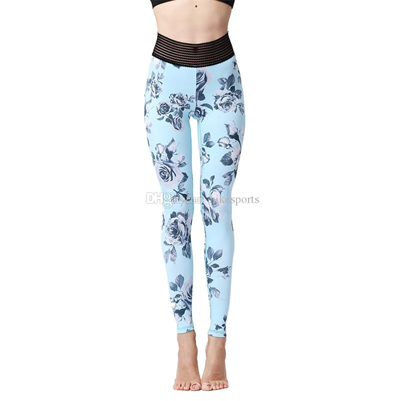 Womens Sports Yoga Pants High Waisted Workout Leggings Fitness Running Dance Trousers Print Elastic Tights Skinny Pants Quick Dry Sweatpants