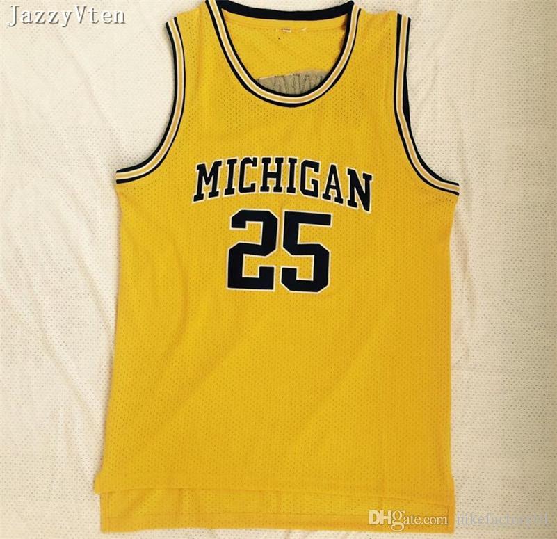 Top quality embroidery Michigan Wolverines 5#Jalen Rose Jersey 25 Dwight Howard Jersey 4 Chris Webber University College Basketball Jerseys