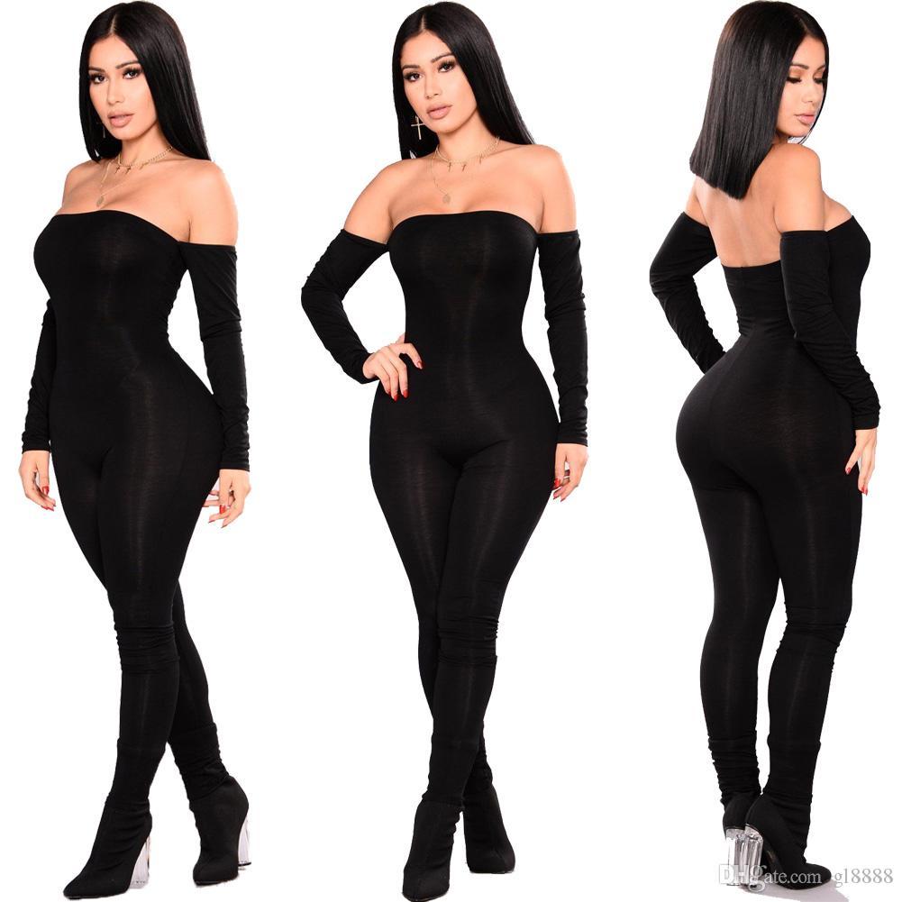 Mode féminine moulante Jumpsuit Romper Salopette Parti manches longues épaules Maigre Pantalons Vêtements pour femmes