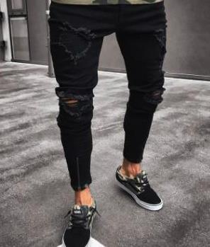 Herren Designer Jeans Spring Black Ripped Distressed Holes Design Jean-Bleistift-Hosen-Taschen Hommes Pantalones Herrenkleidung