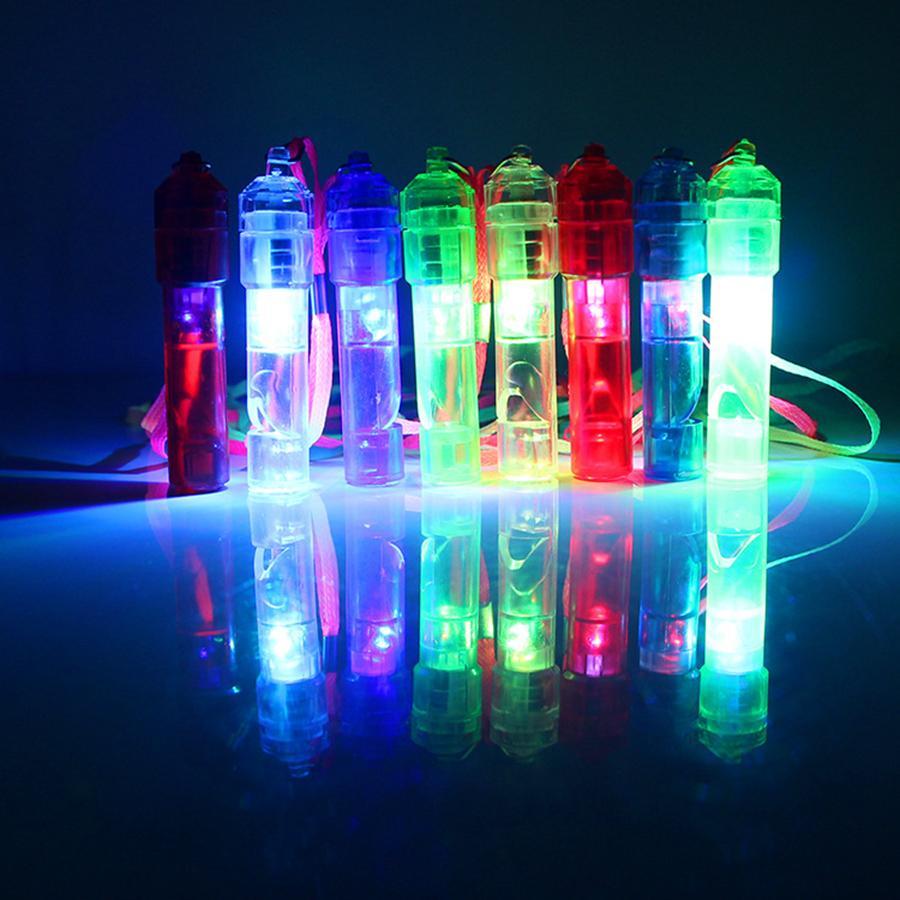 LED Light Up Whistle Coloré Lumineux Noise Maker Enfants Enfants Jouets Fête D'anniversaire Nouveauté Accessoires Fête De Noël Fournitures RRA2040