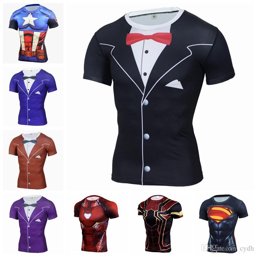 2019 T-shirt européenne hot-vente tête de col rond 3D impression rue décontracté à manches courtes moulants, soutien lots mixtes