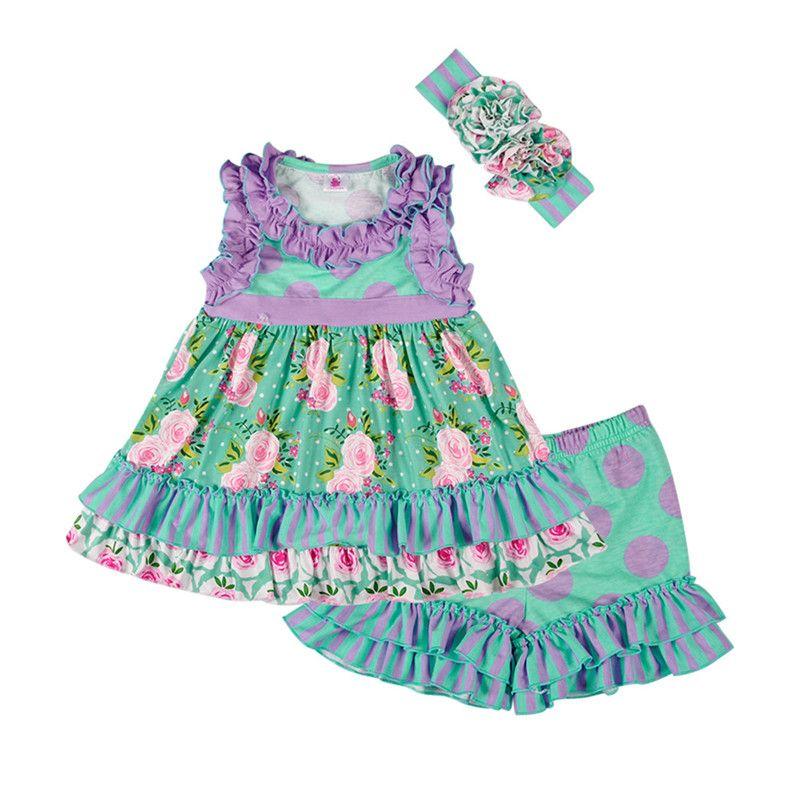 Lovely Girls Dress Clothes Vintage Kids Ruffle Stampa a righe Top con arricciature Shorts Fascia per bambini Abbigliamento Set
