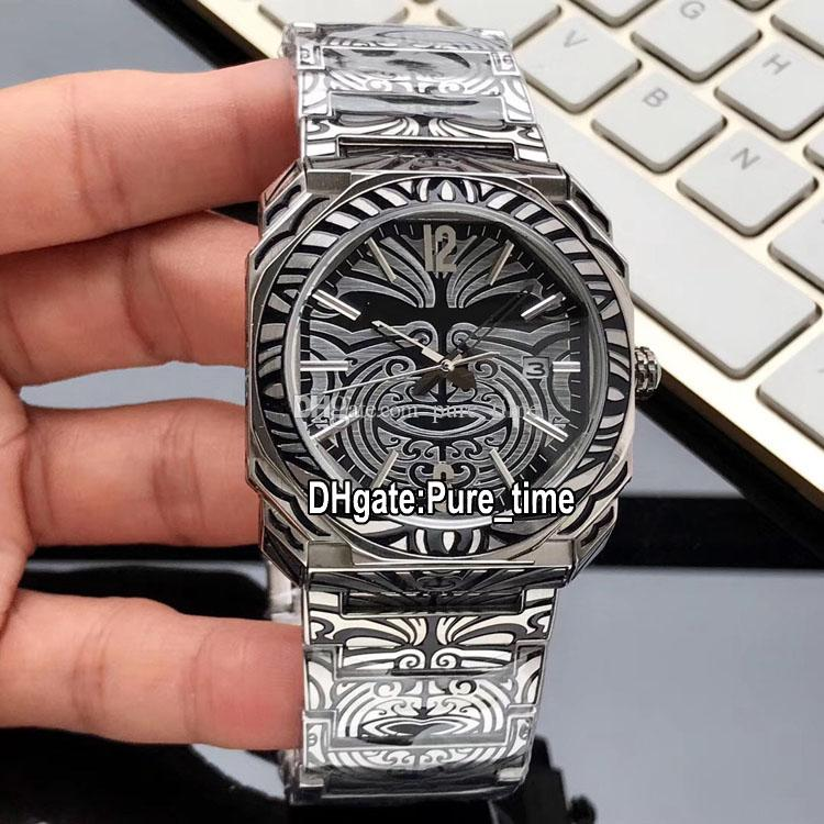 Cheap New Octo Caso Carve Retro 102249 BGO41BSBLD / AB Maori Black Dial Swiss Quartz pulseira de aço inoxidável do esporte Gents Relógios Hello_watch