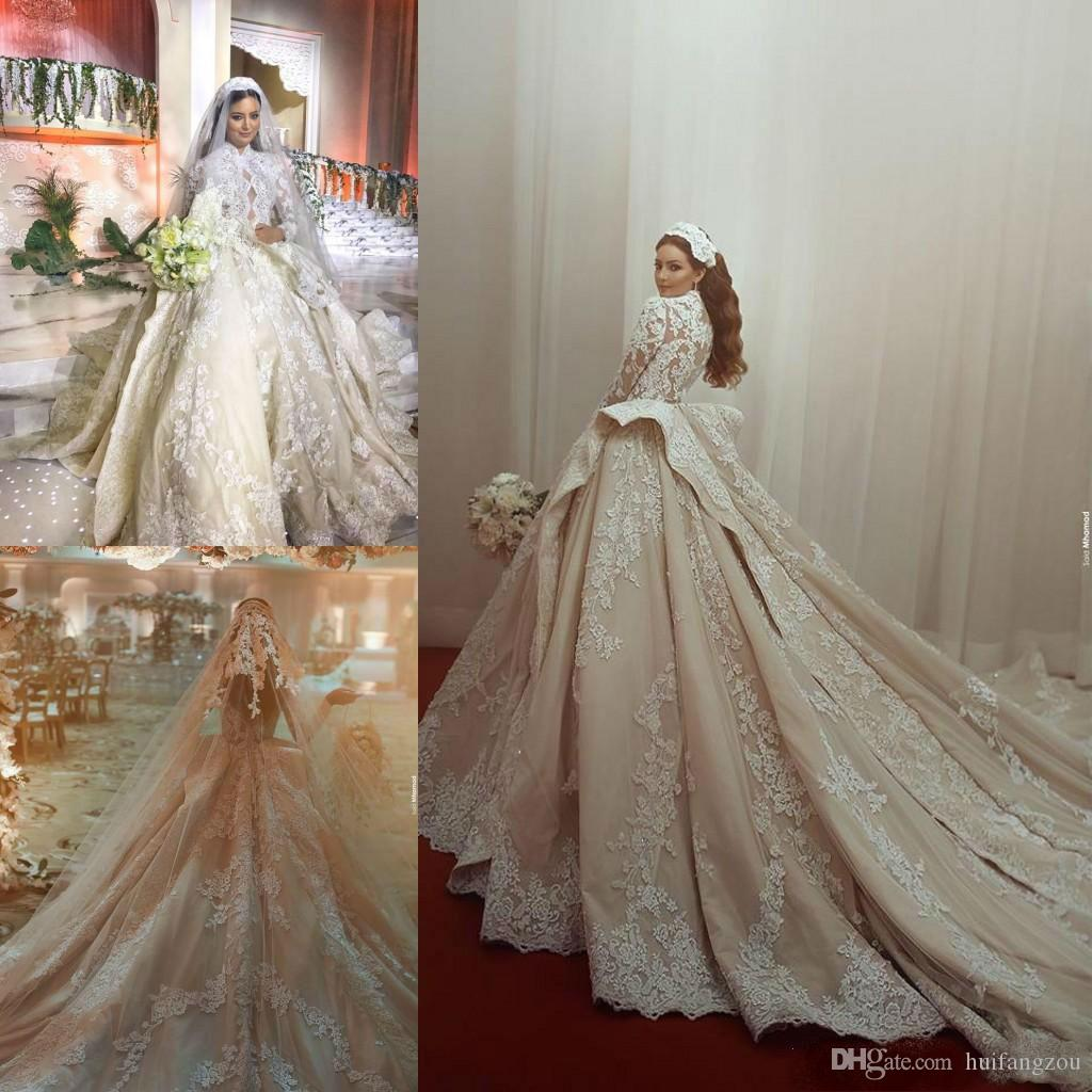 Luxurious Princess Ball Gown Wedding Dresses 2019 High Neck Sheer Long Sleeve Lace Appliqued Bridal Gowns With Cathedral Train Wedding Dress