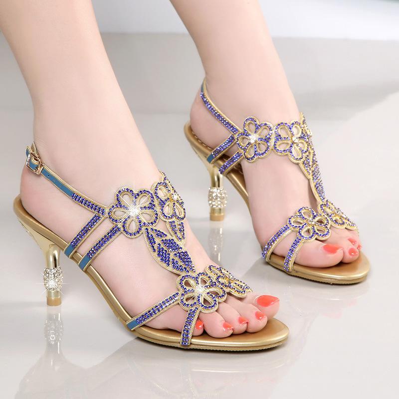 Sandalias de las señoras Nueva sandalias de cuero genuino Diamante Zapatos Sandalia Femenina boca de los pescados los zapatos de la línea A- cristal de tacón alto
