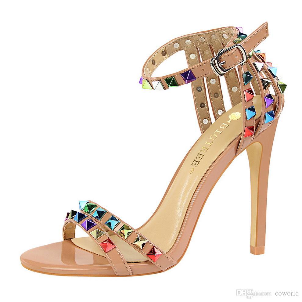 جديد الساحرة المرأة المفتوحة تو الكاحل حزام الخنجر عالية الكعب اللباس الصنادل الزفاف الأنيق حزب أحذية