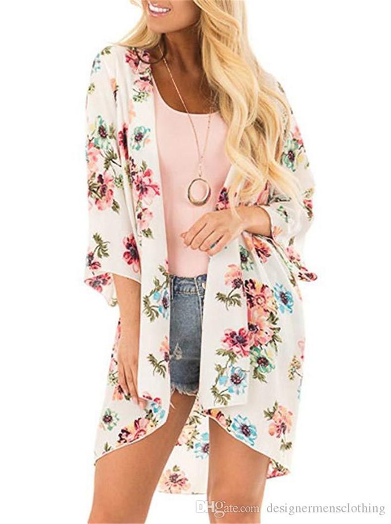 شاطئ الصيف الشيفون واقية من الشمس بلوزة Floar مطبوعة كم طويل كيب المرأة أزياء فضفاضة معطف منع تشمس الملابس