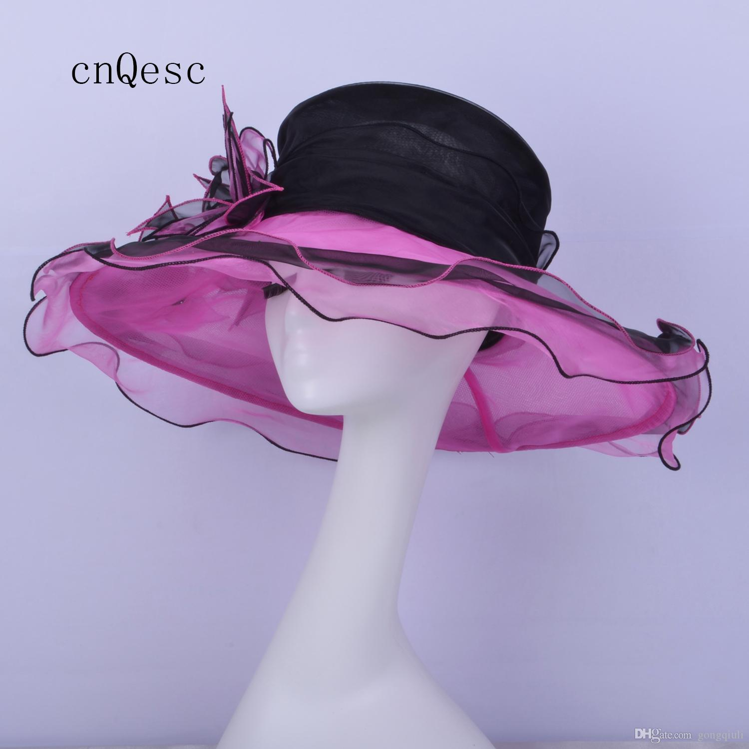 2019 Cappello da organza nero rosa caldo per la festa delle nozze di Kentucky derby church party
