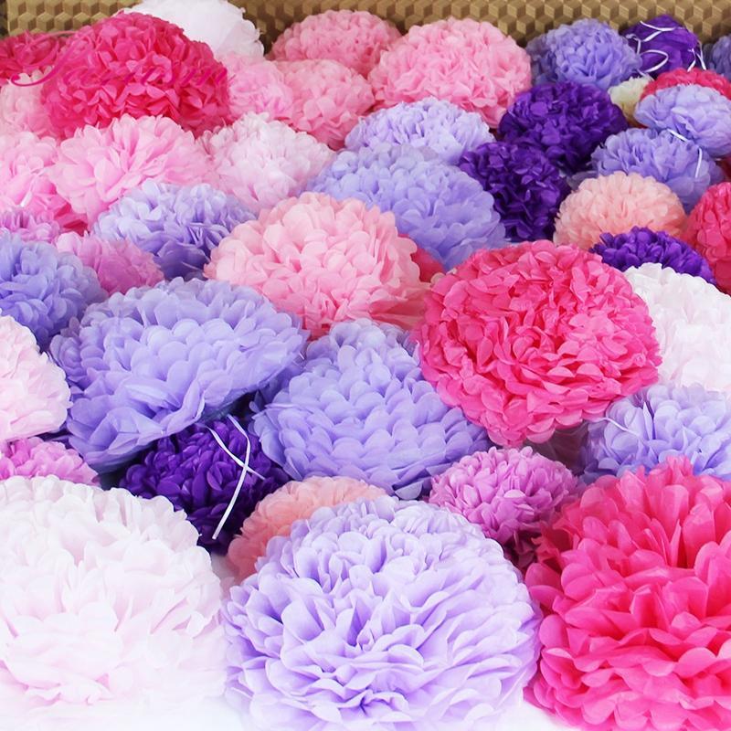 """ome & Garden 15pcs 6\"""" 8\""""10\""""(15 20cm 25cm)Mix Color Decorative Tissue Paper Pom Poms Flower Balls Pompom for Wedding party home Decorat..."""
