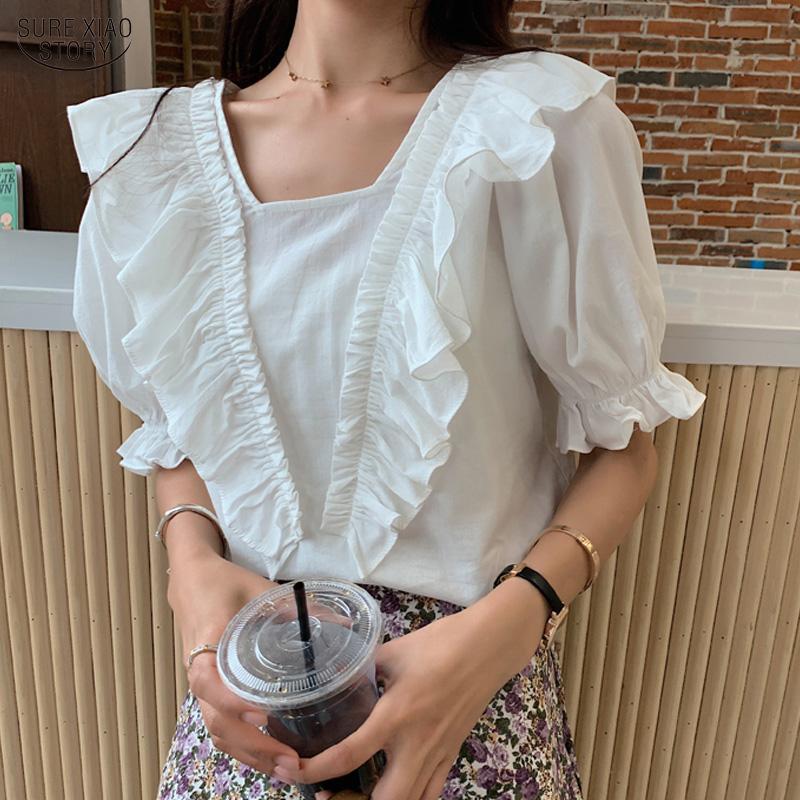 Verano riza tapas delgadas de Corea Blusas Mujeres Blusas Mujer De Moda 2020 de manga corta casuales oficina de señora camisas 10048