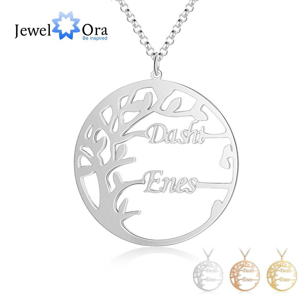 Personalized Tree of Life Necklace with 2 Names Customized Name Letter Pendant Necklace Women Jewelry Christmas Gift (NE103797)