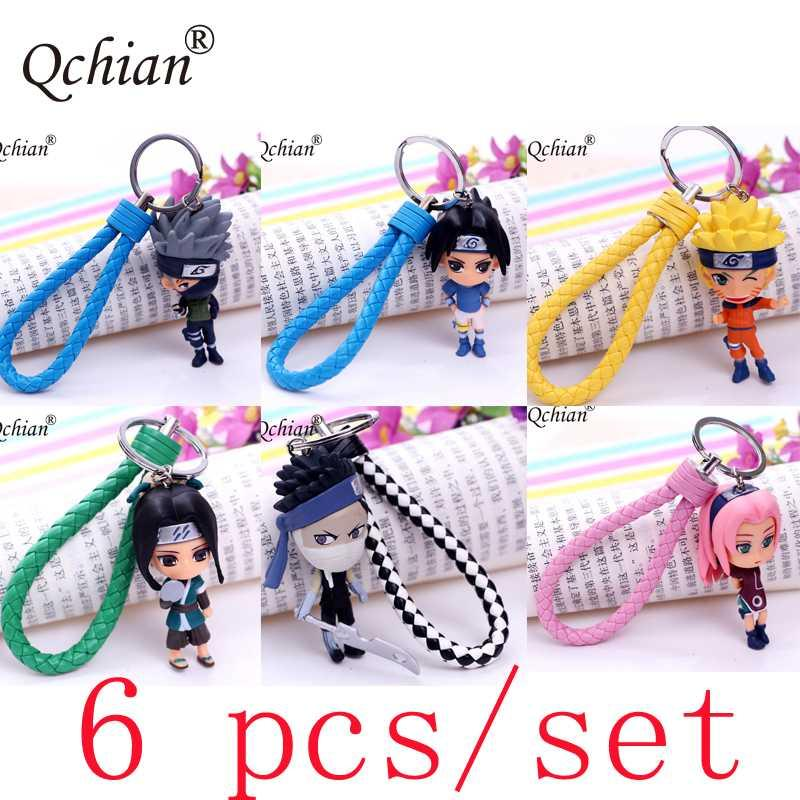 6pcs de porte-clés Anime 3D Naruto Keychain Porte Kakashi Gaara Itachi Figure Doll Porte-clés Sac voiture Pendentif Cosplay cadeau