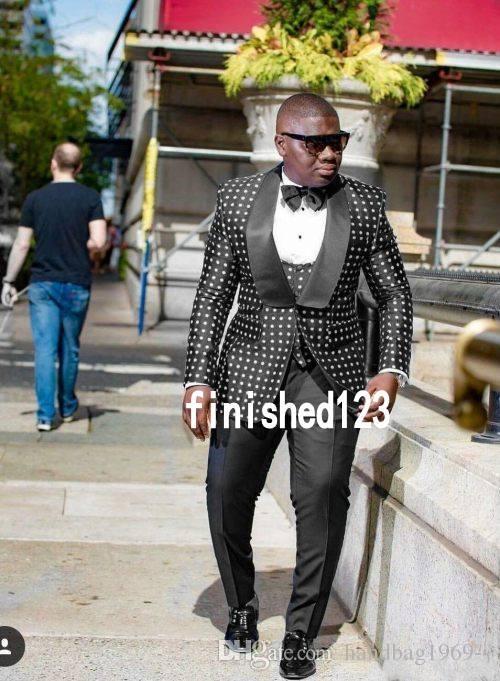 Novo Design de Um Botão Preto Dot Noivo Smoking Xaile Lapela Groomsmen Melhor Homem Terno Ternos De Casamento Dos Homens Noivo (Jaqueta + calça + colete + Gravata) 069