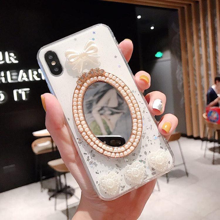 Bling Specchio TPU del telefono della copertura di scintillio della radura TPU del telefono guscio protettivo di cristallo belle custodie degli specchi per iPhone Pro 11 7 8 PLUS XR X MAX