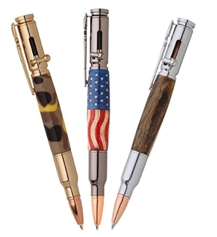 Cool Golden Silver Gun Gun Glip Workshop Handmade Caneta De Madeira Kits Bullet Self-Montagem De Metal Pen Peças Diy Parafuso Act Act Action Pen Ballpoint Pen Presente