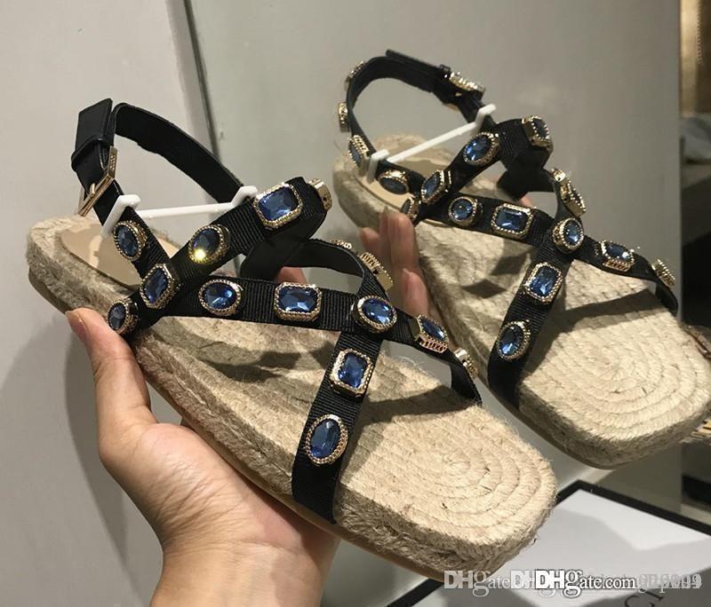 Новый Grosgrain эспадрильи сандалии с кристаллами роскошь дизайнер обуви дамы сандалии 573024 HC5C0 1000 размер вскользь 35-41