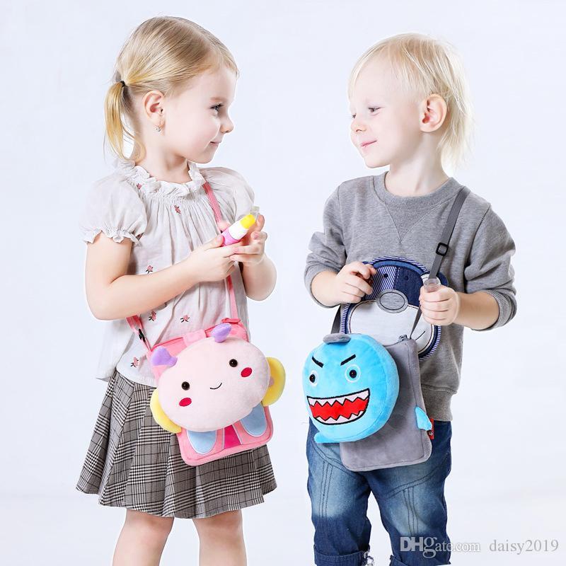Lovely Plush Baby Toddler Infant Cat Monedero Kids Messenger Bag Girls Cartoon Shoulder Bag Niño Lindo Animal Patrón Crossbody Bag