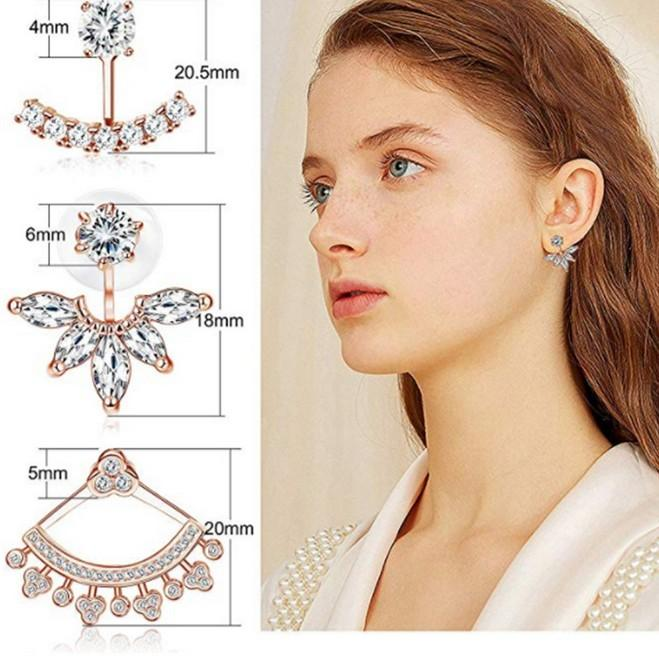 Delicated Wedding Ear Jacket Piercing Earring Studs Chic CZ Earrings Jackets For Women Silver Gold Rose GoldTone
