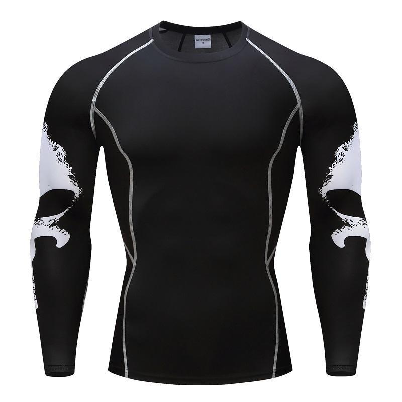 T-shirts de compression Hauts Hommes manches longues Top Crossfit Base Layer Fitness Poids Vêtements de levage Slim Plus Taille S-4XL